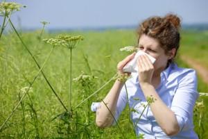 Eine Frau mit einem Taschentuch an der Nase auf einer blühenden Wiese.