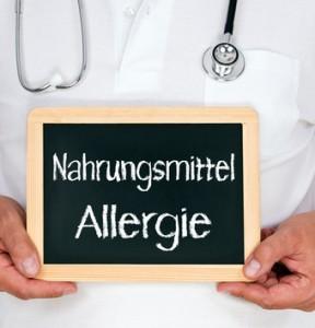 Tafel mit der Aufschrift Nahrungsmittelallergie